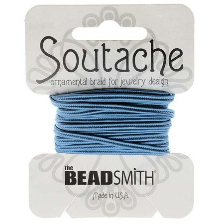 BeadSmith Soutache Braided Cord 3mm Wide - Blue (3 Yard Card)