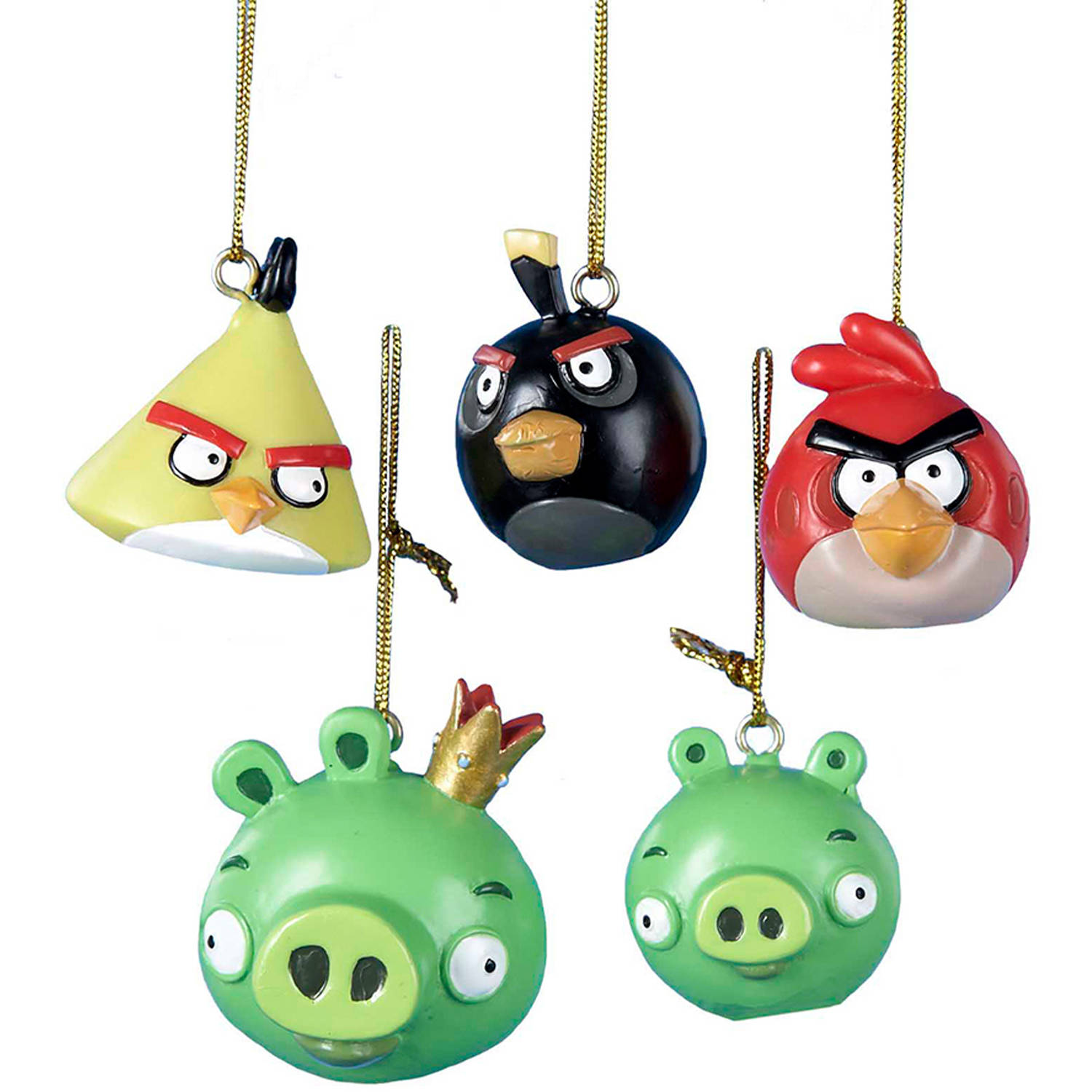 "Kurt Adler 1.75"" Resin Angry Birds Mini Ornaments, 5-Piece Set"