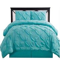 Queen aqua blue Oxford Double Needle Luxury Soft Pinch Pleated Comforter Set