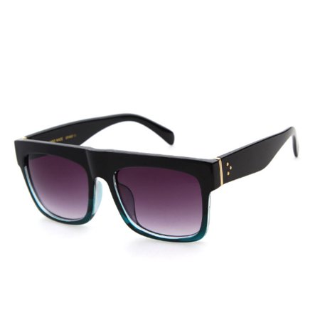 Flat Top Black Square Frame Sunglasses Kardashian West Oversized Khloe (Kim Kardashian New Sunglasses)