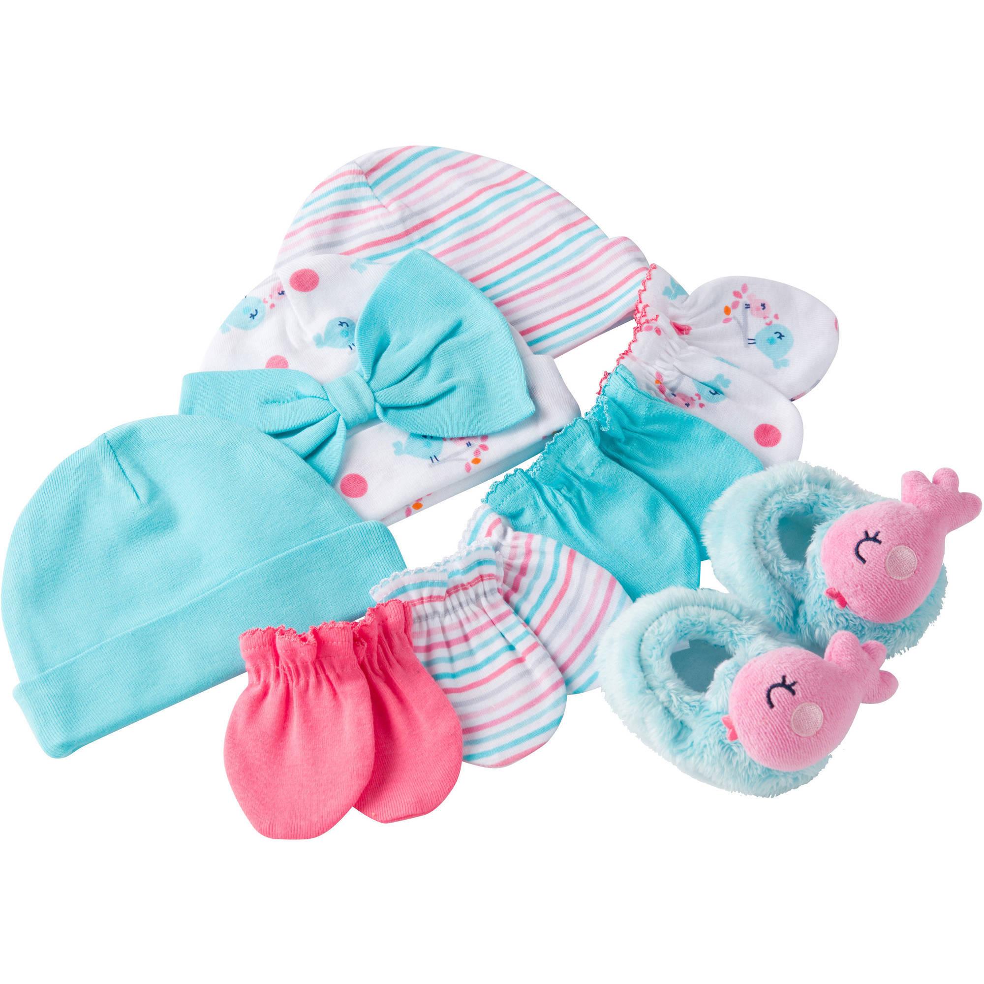 Gerber Newborn Baby Girl Caps, Mittens and Booties Accessory Gift Set, 8-Piece