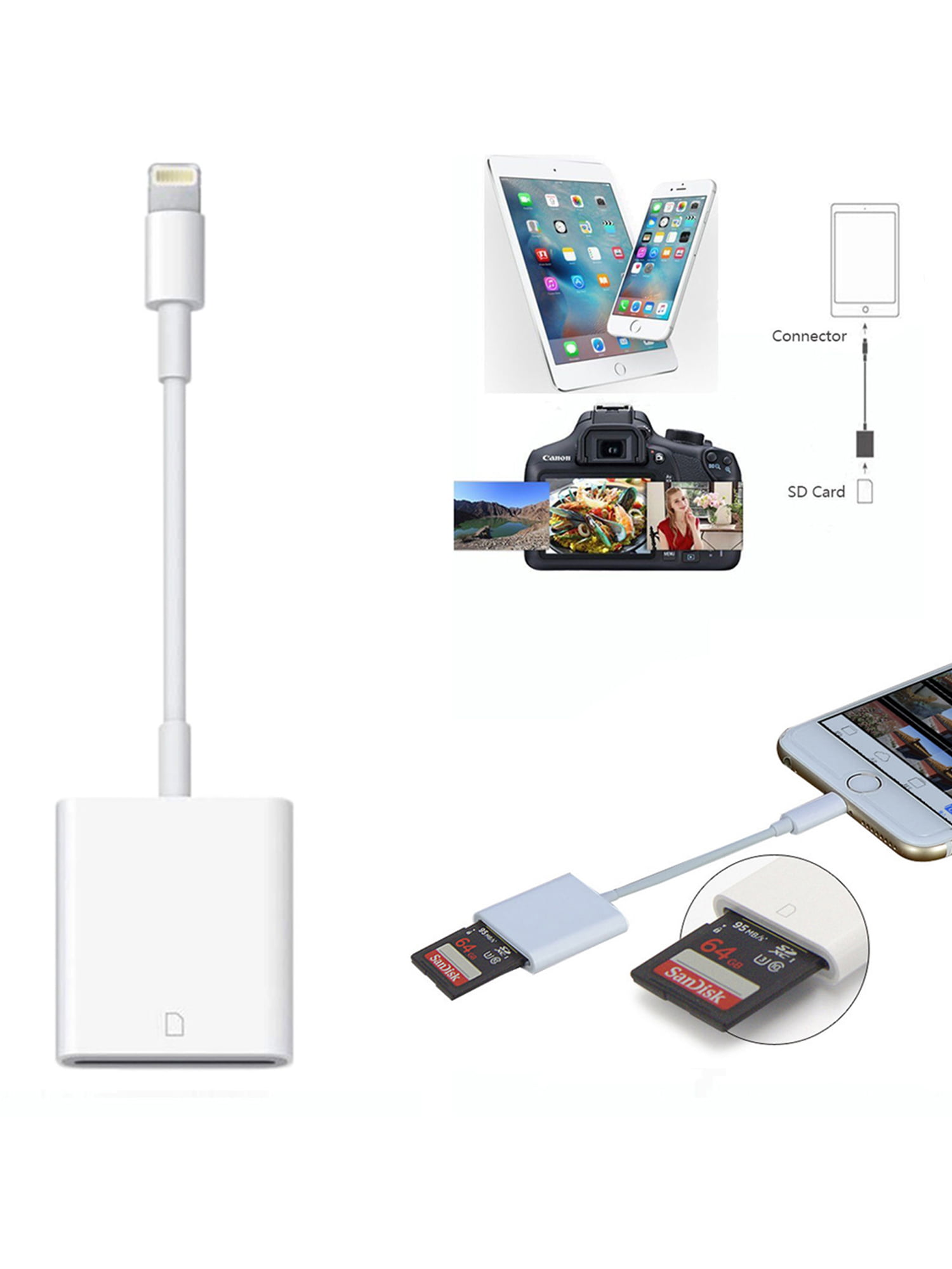 Camera SD Card Reader Adapter Cable for iPhone 6S 7Plus Apple iPad Pro Air New