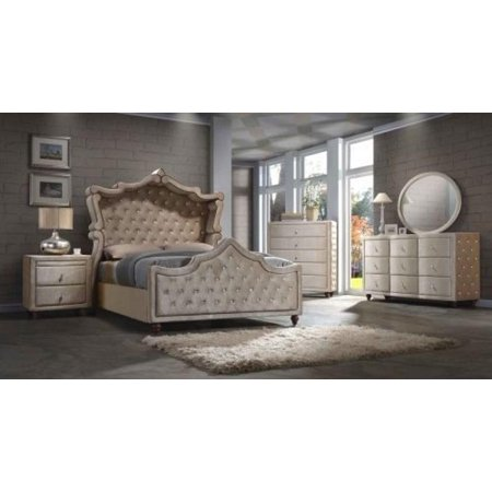 Meridian Diamond Canopy King Size Bedroom Set 5pcs in Golden Beige  Contemporary
