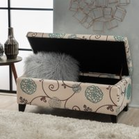 Noble House Hampton Contemporary Fabric Upholstered Storage Ottoman, White and Blue Floral