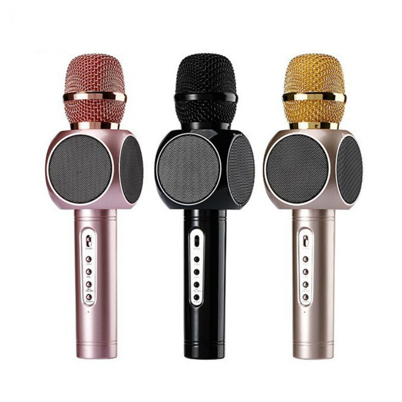 E103 Multi Magic Karaoke player Portable Wireless Bluetooth Microphone with Mic Speaker Condenser Fashion Home Mini Karaoke Player KTV Singing Record for Apple Samsung iPhone Gold/Black/Pink