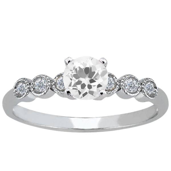 0.84 Ct Round White Quartz 14K White Gold Ring