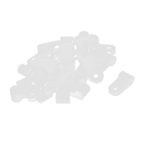 30Pcs White Plastic R Type Cable Clip Clamp for 6.4mm Dia Wire Hose -