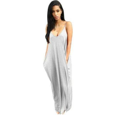 Plus Size Women Boho Long Maxi Dress Loose Backless Summer Beach Sundress  Jumpsuit Sleeveless Casual