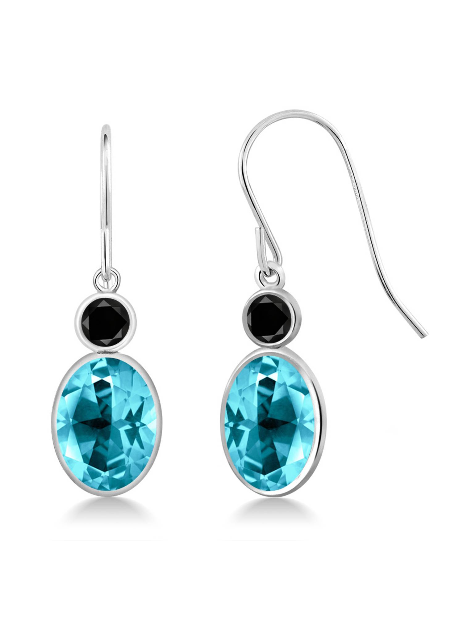 14K White Gold Diamond Earrings Set with Oval Paraiba Topaz from Swarovski by