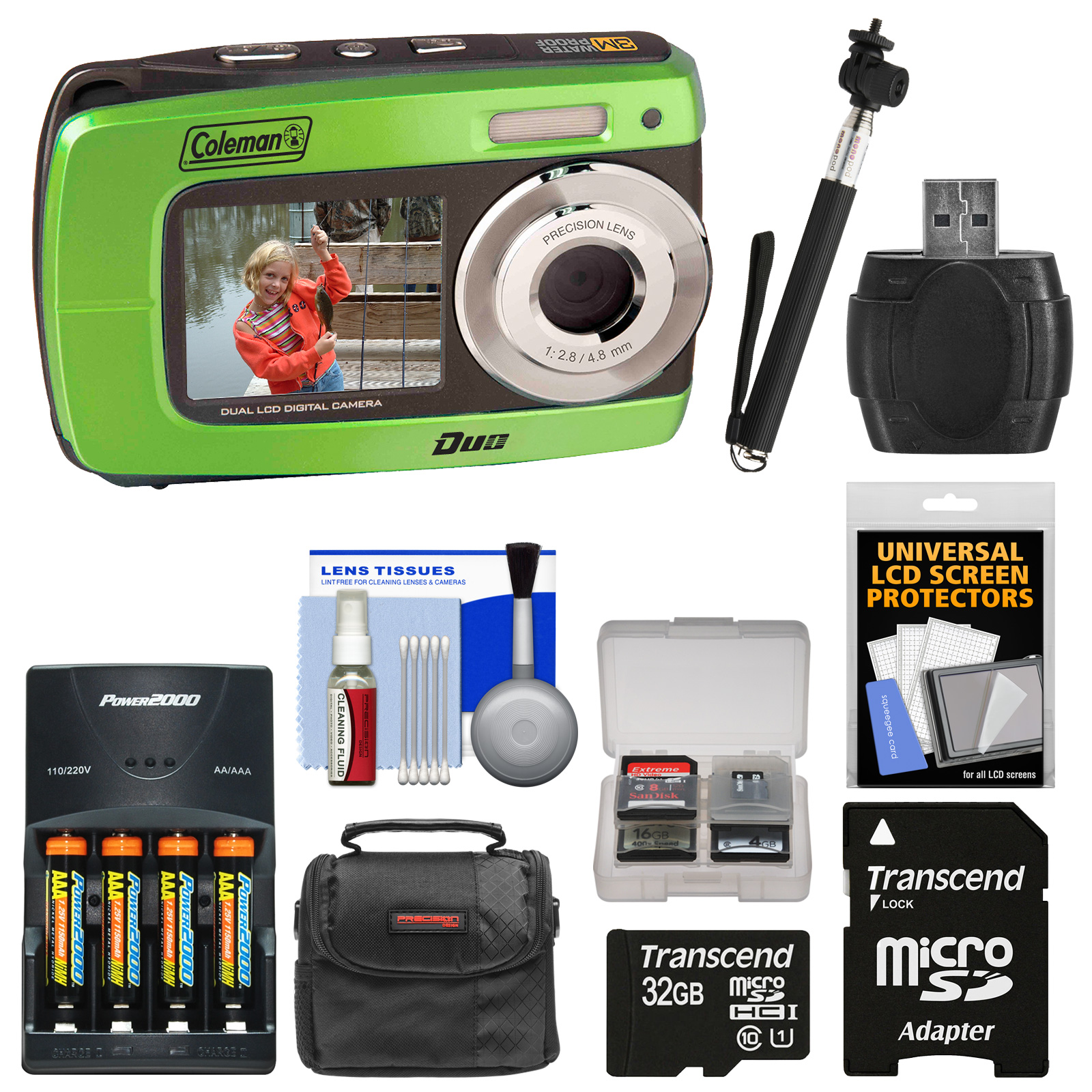 Coleman Duo2 2V8WP Dual Screen Shock & Waterproof Digital Camera (Green) with 32GB Card + Batteries & Charger + Case + Monopod Selfie Stick + Kit