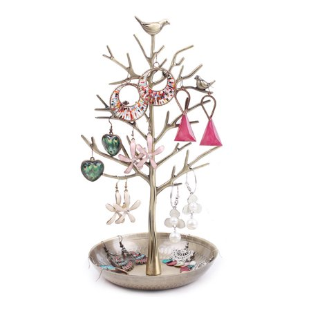 Dazone Birds Tree Jewelry Stand Display Earring Necklace Holder Organizer Rack Tower Retro Bronze