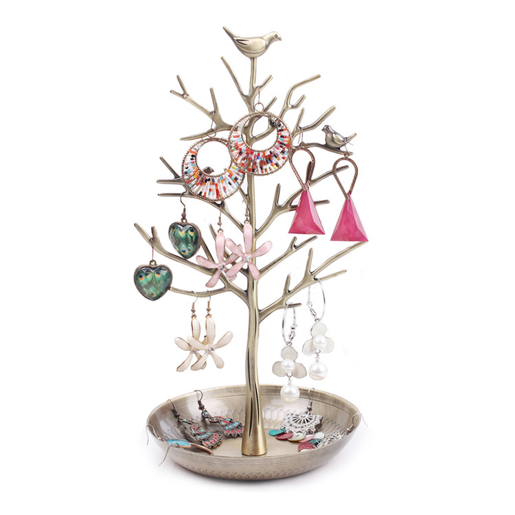 Dazone Birds Tree Jewelry Stand Display Earring Necklace Holder Organizer Rack Tower(Retro Bronze)