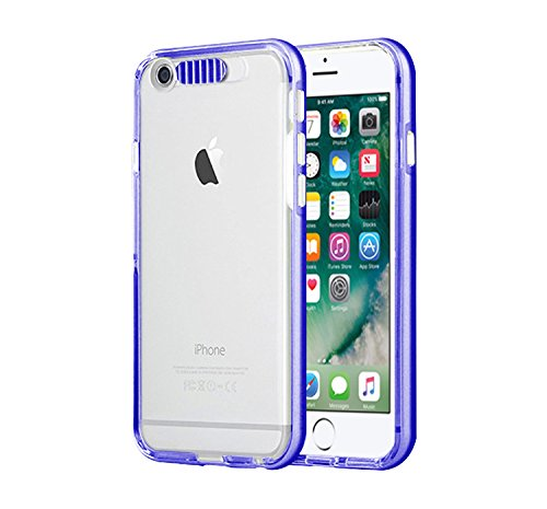 "iPhone 7 /8 Plus Case, Mignova LED Incoming Call Flash Message Blink iphone 8  Plus 5.5"" Hybrid Cover Pc Hard Transparent Back + Luminous Soft Protective Bumper Case for Iphone 7 8 Plus (Deep Blue)"