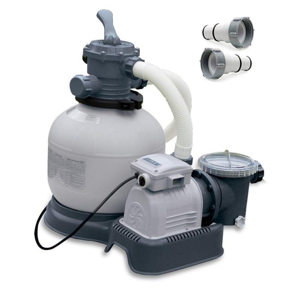Intex Krystal Clear 2800 GPH Above Ground Pool Sand Filter Pump w/ Hose Adapters