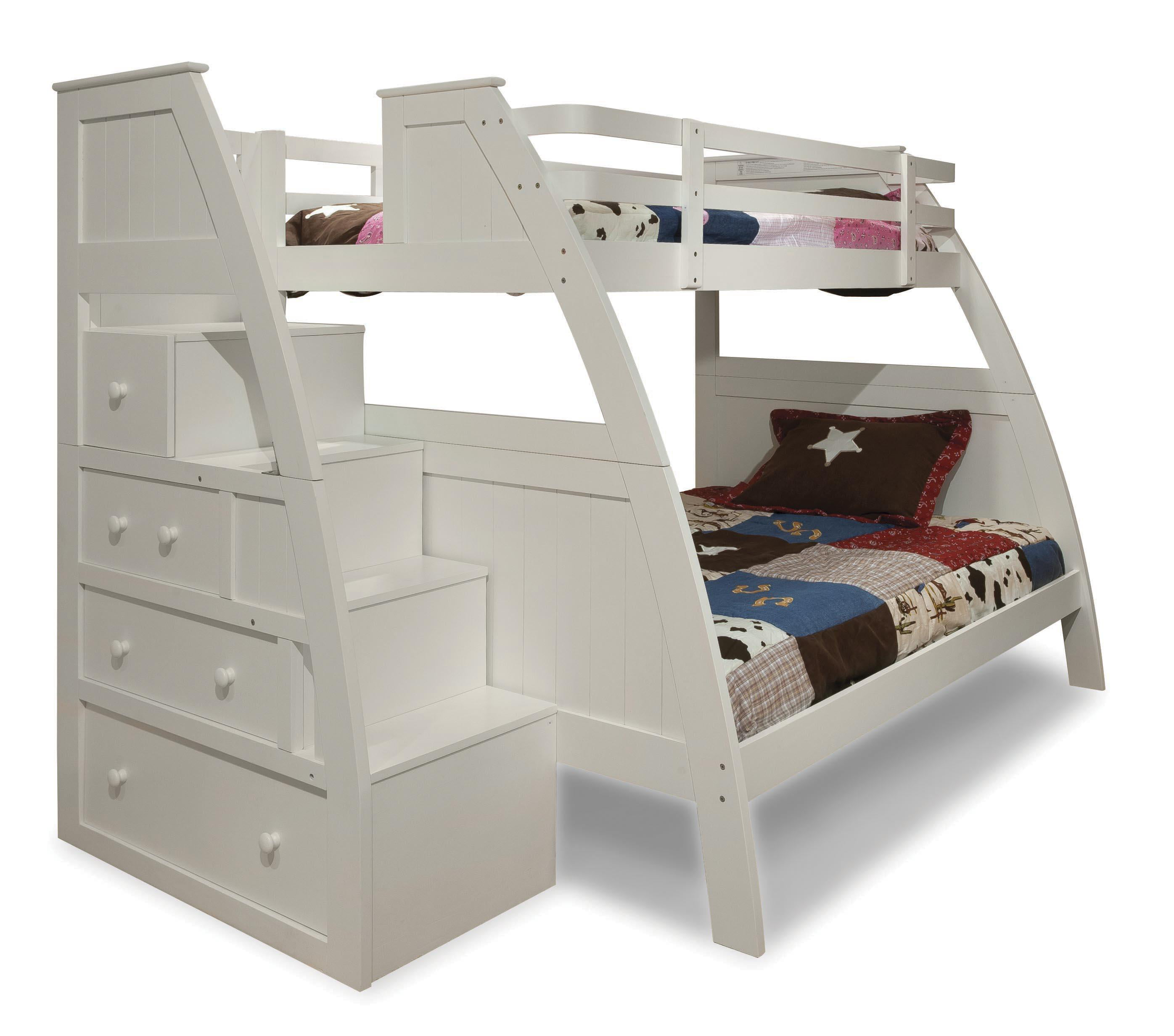 Canwood Overland Twin Over Full Bunk Bed With Built In Stairs Drawers Finish White Walmart Com Walmart Com