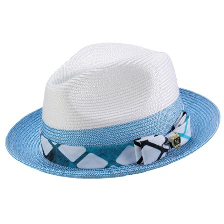 Montique H-1914 Mens Straw Fedora Hat Blue](Abby Cadabby Hat)