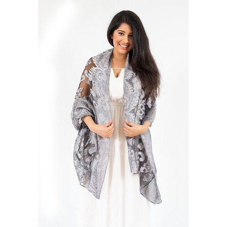 Lightweight Scarf for Women by Zodaca Ladies Fashion Soft Plain Casual One Size Burnout Lace Scarf Wrap Beach Shawl - Silver