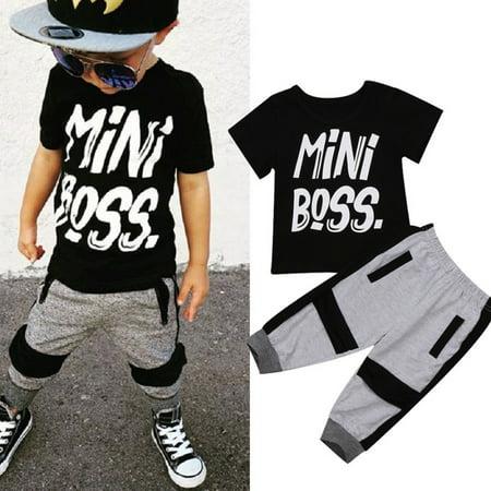 - Fashion Toddler Kids Baby Boy Summer Mini Boss T-shirt Tops Pants Harem 2PCS Outfits Set Clothes 1-6T