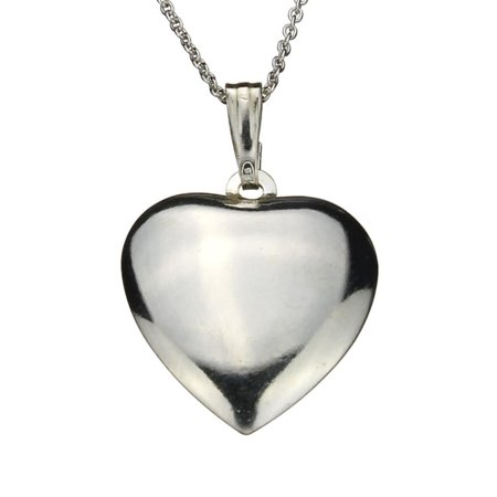 Sterling Silver Domed Heart Pendant Cable Chain Necklace Italy, 16