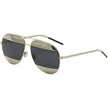 Christian Dior - DIOR SPLIT 1, Aviator, metal, women, PALLADIUM/PALLADIUM GREY BLUE(010/KU), (Dior Chicago Aviator Sunglasses)