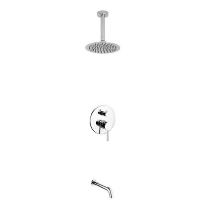 Kube Bath Aqua Rondo Diverter Tub And Shower Faucet With Metal Lever Handle