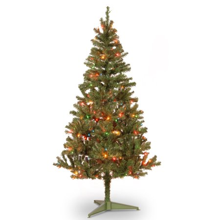 National Tree Pre-Lit 6' Canadian Grande Fir Wrapped Artificial Christmas Tree with 200 Multi