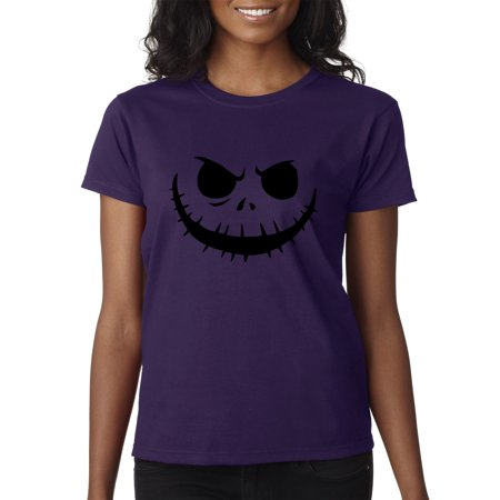 Trendy USA 971 - Women's T-Shirt Jack Skellington Pumpkin Face Scary XS Purple