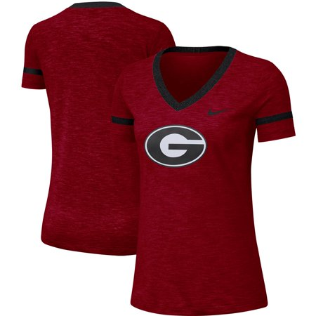 Georgia Bulldogs Nike Women's Slub Logo Fan Performance V-Neck T-Shirt - Red
