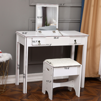 【FCH】Flip Single Mirror Double Drawers Straight Feet Dresser White