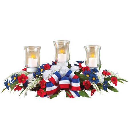 4th of July Candle Holder Floral Centerpiece, Patriotic Table Decoration (4th Of July Table Centerpieces)
