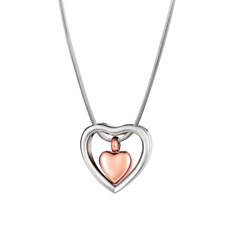 Anavia Floating Drop Heart Cremation Jewelry Memorial Necklace Ash Urn Rose Gold with Gift -