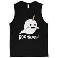 Boonicorn Cute Halloween Costume Ghost Unicorn Mens Black Muscle Shirt