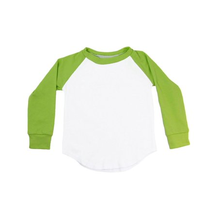 Unisex Little Kids Lime Green Two Tone Long Sleeve Raglan Baseball T-Shirt