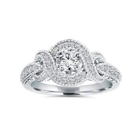 - 1/2Ct Vintage Diamond Infinity Engagement Ring 14K White Gold Antique