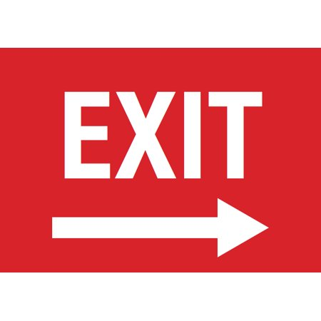 Exit Right Arrow Red Sign - Door Directional Signs - Plastic