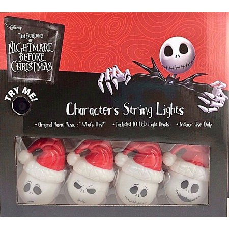 The Nightmare Before Christmas The Many Faces of Jack Skellington Santa Claus Musical Christmas Lights - Plays