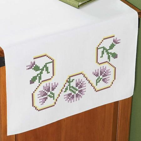 Herrschners® Purple Thistle Dresser Scarf Stamped Cross-Stitch