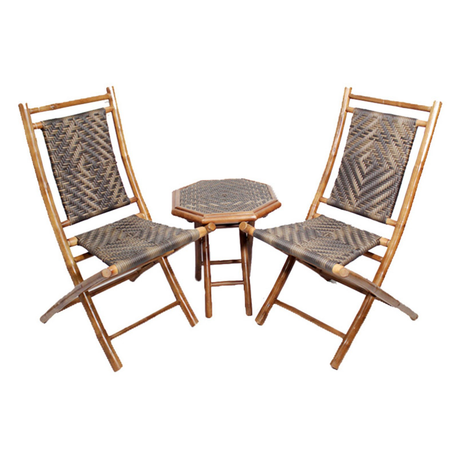 Heather Ann Creations Hana 3 Piece Bamboo Patio Conversation Set