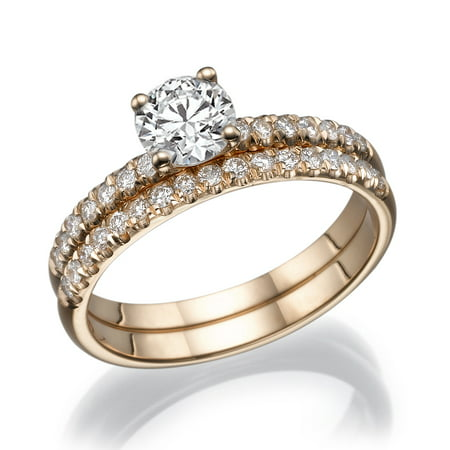 Engagement Ring Set 0.62ctw Lab Created White Sapphire and Diamonds Ring Rose Gold