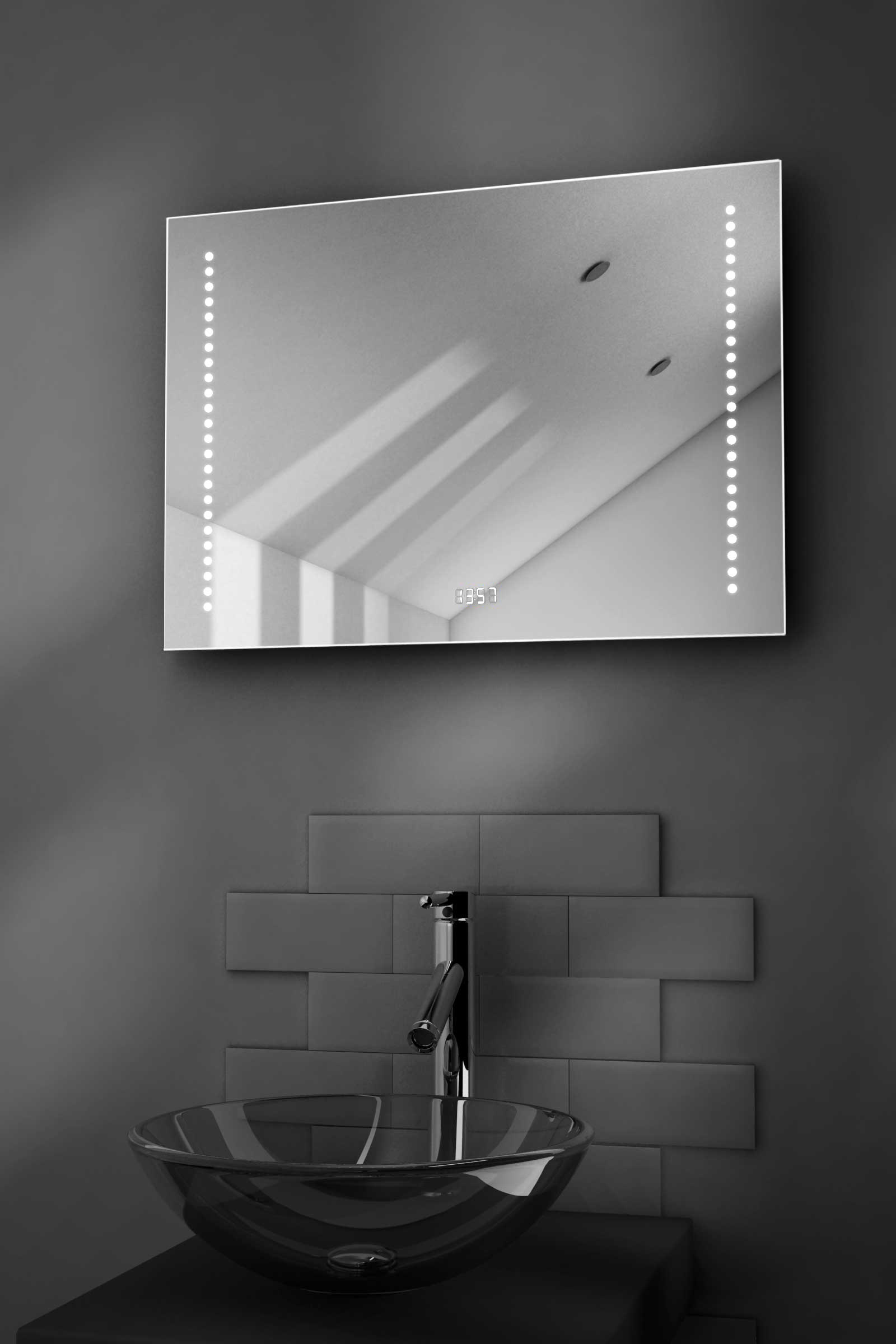 Beatrix Shaver Bathroom Mirror With Clock, Demisting Pad & Sensor k193 by Powerful Vision Ltd.