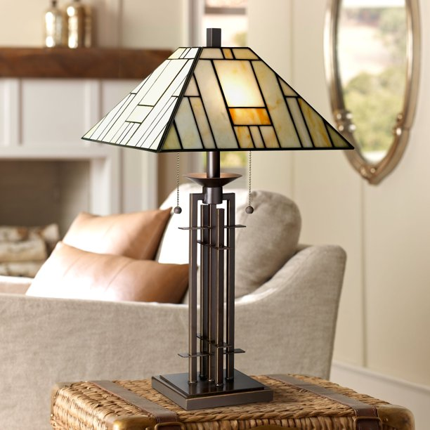Franklin Iron Works Tiffany Style Table Lamp Art Deco Wrought Iron Bronze Stained Glass For Living Room Family Bedroom Bedside Walmart Com Walmart Com