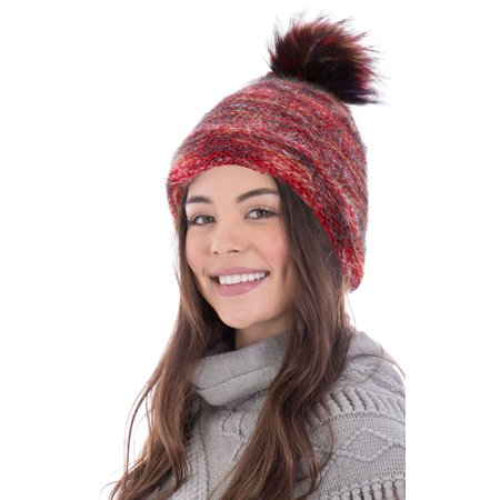 e3d3d38cb083f Simplicity - Women s Heathered Multicolor Cable Knit Pom Pom Beanie ...