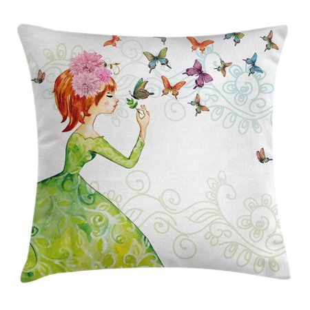 Fashion House Decor Throw Pillow Cushion Cover, Lady in Green Dress with Leaf Ornaments Flower Pastel Butterfly, Decorative Square Accent Pillow Case, 16 X 16 Inches, Pink Orange Green, by Ambesonne (Square Butterfly Leaf)