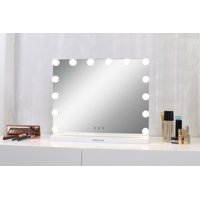 Walcut 23''*17''Hollywood Style Vanity Makeup Mirror With Touch Control Design LED Lights,Horizontally,White,15*3W Warm White Bulbs With 3 Color Lights,With UBS Interfaces,Table-Top or Wall Mount