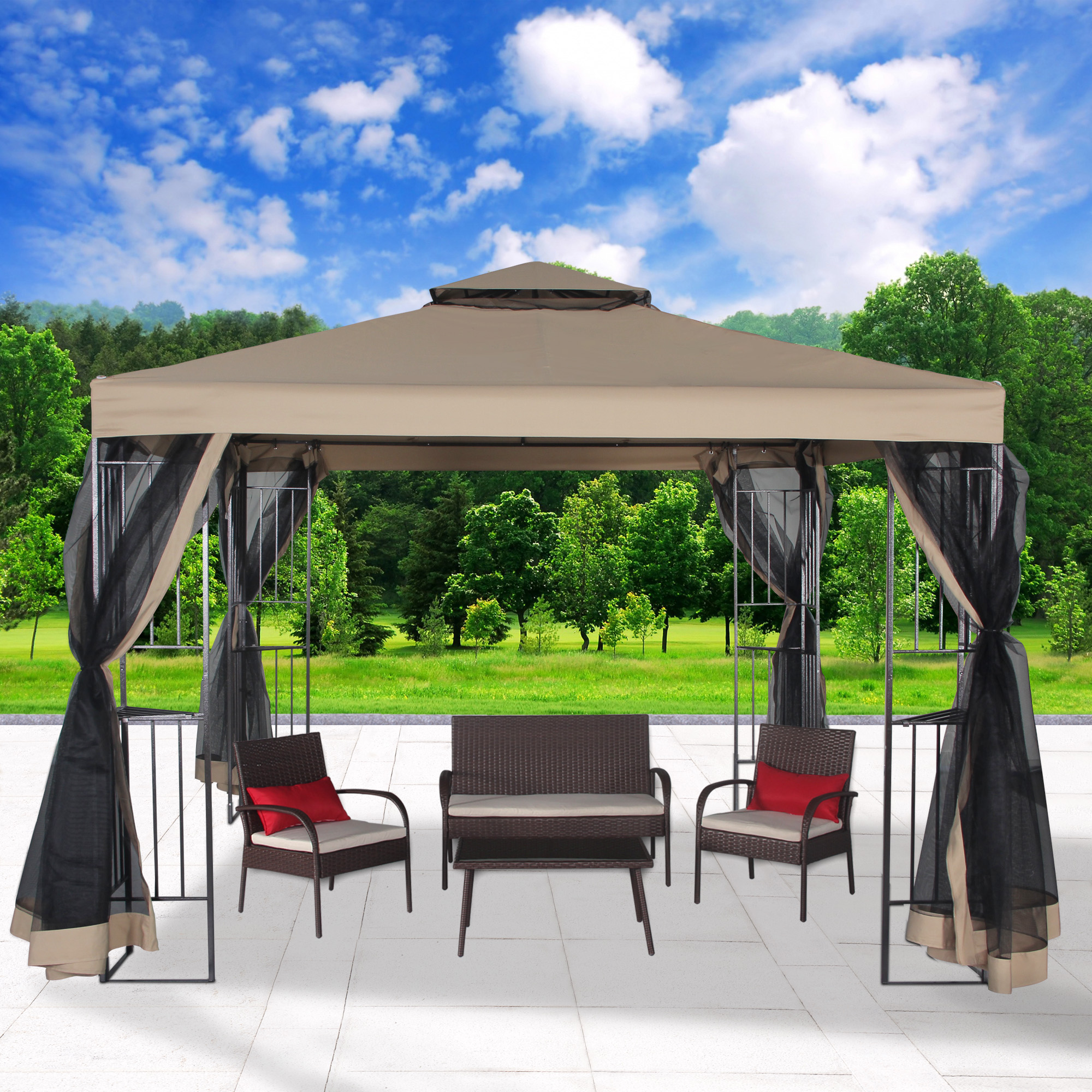 Cloud Mountain Garden Gazebo Polyester Fabric 10u0027 x 10u0027 Patio Backyard Double Roof Vented & Cloud Mountain Garden Gazebo Polyester Fabric 10u0027 x 10u0027 Patio ...