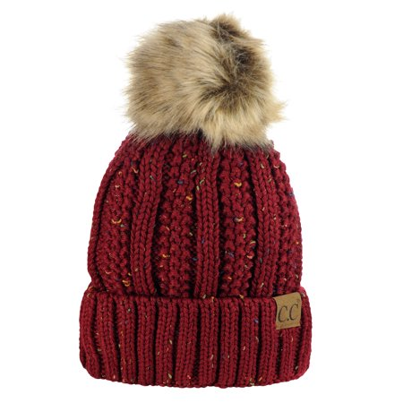 410a8a12a593c C.C Thick Cable Knit Faux Fuzzy Fur Pom Fleece Lined Skull Cap Cuff Beanie