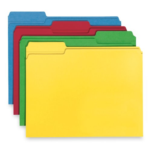"Smead Smd-12008 Recycled Top Tab File Folder - Letter - 8.5"" X 11"" - 1/3 Tab Cut - 100 / Box - 11pt. - Assorted (smd12008)"