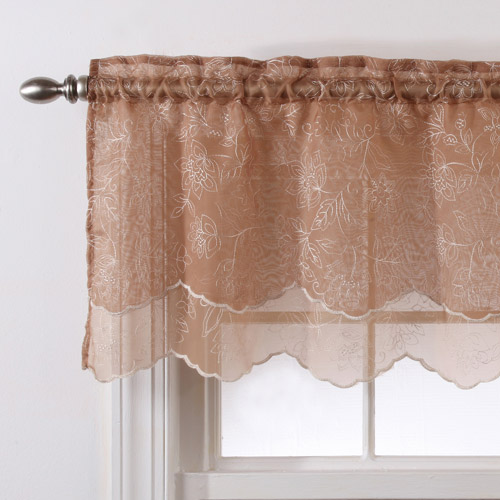 Belle Maison Reese Embroidered Sheer Layered Valance