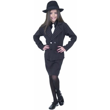Child's Girl Gangster Costume~Large 10-12 / Black (1920 Girl Gangster)
