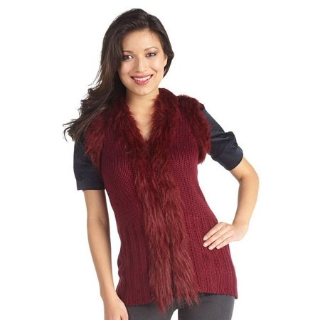 Luxe Rachel Zoe Cable Knit Sweater Vest Faux Fur Trim A210915